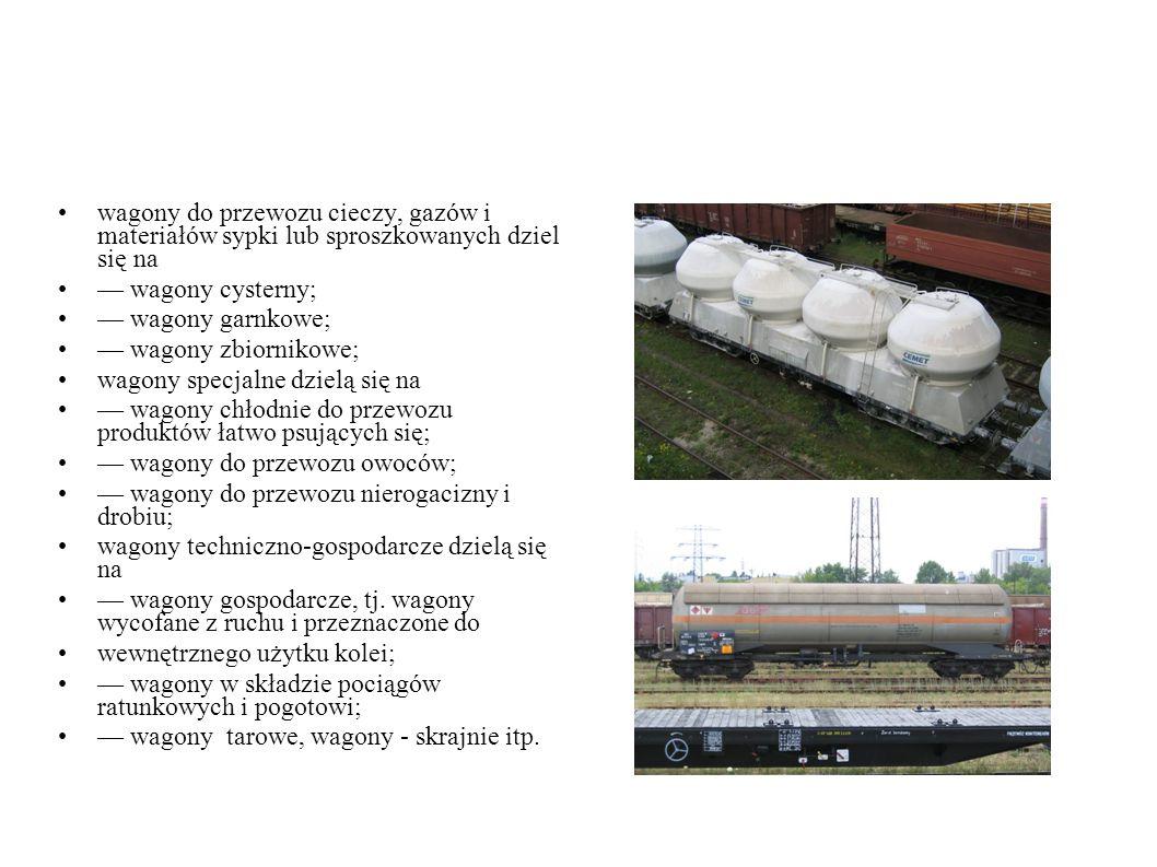 wagony do przewozu cieczy, gazów i materiałów sypki lub sproszkowanych dziel się na — wagony cysterny; — wagony garnkowe; — wagony zbiornikowe; wagony specjalne dzielą się na — wagony chłodnie do przewozu produktów łatwo psujących się; — wagony do przewozu owoców; — wagony do przewozu nierogacizny i drobiu; wagony techniczno-gospodarcze dzielą się na — wagony gospodarcze, tj.