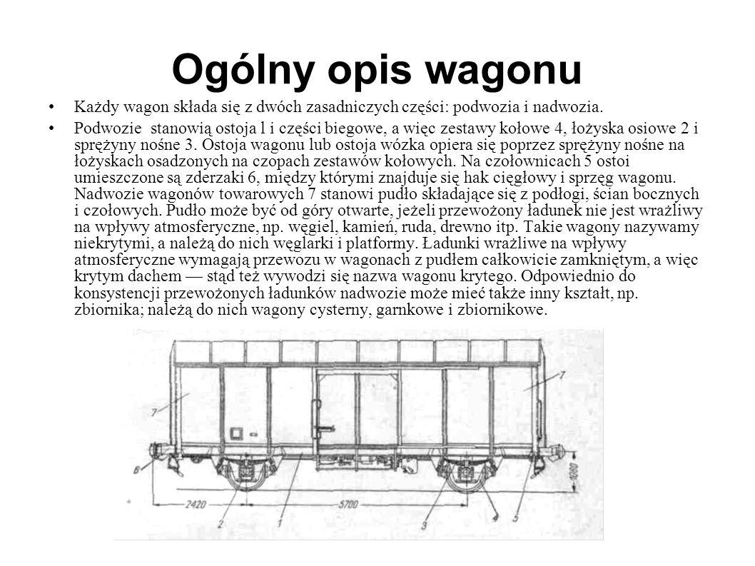 Ogólny opis wagonu Każdy wagon składa się z dwóch zasadniczych części: podwozia i nadwozia. Podwozie stanowią ostoja l i części biegowe, a więc zestaw