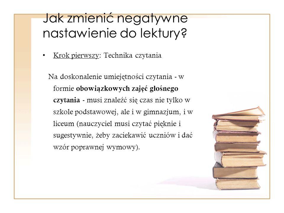 Jak zmienić negatywne nastawienie do lektury? Krok pierwszy: Technika czytania Na doskonalenie umiej ę tno ś ci czytania - w formie obowi ą zkowych za