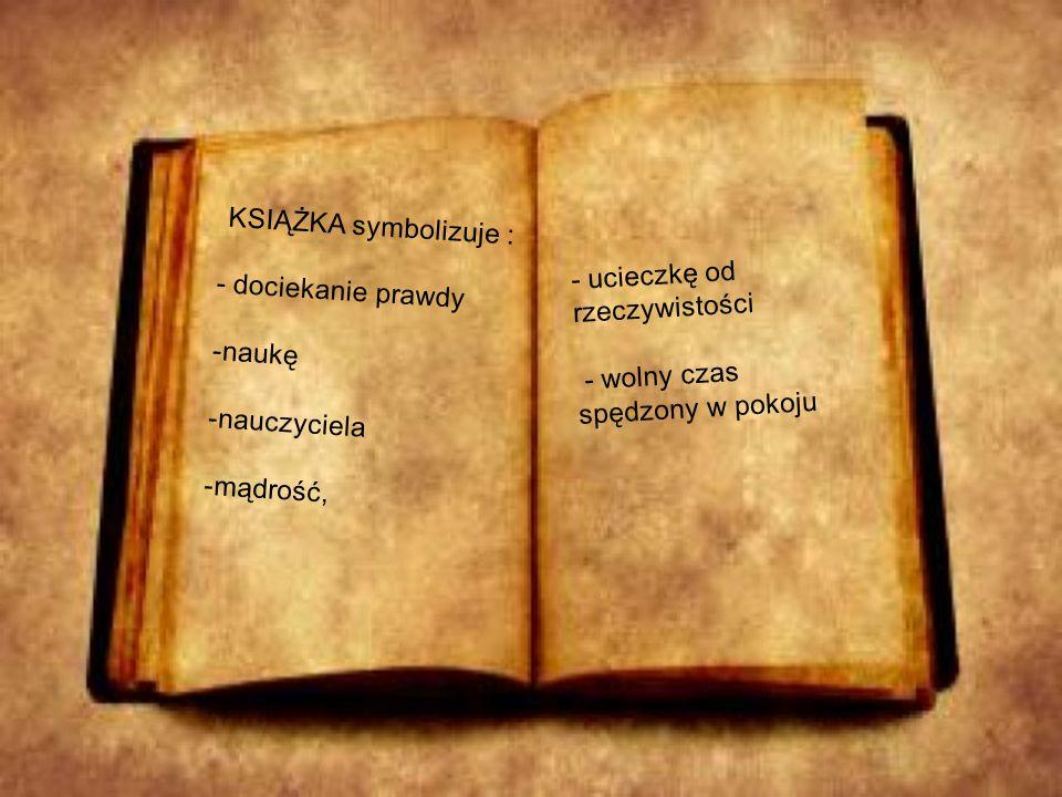 KSIĄŻKA symbolizuje : - dociekanie prawdy -naukę -nauczyciela -mądrość, - ucieczkę od rzeczywistości - wolny czas spędzony w pokoju