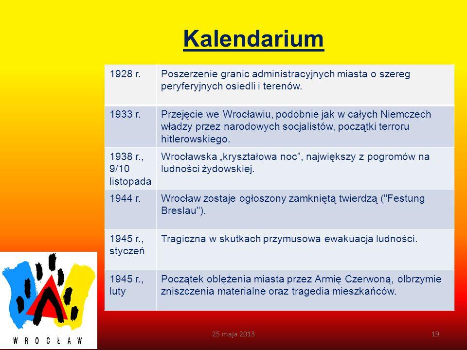 Kalendarium 25 maja 201318 1913 r.Wystawa Stulecia Pruskiej Wojny Wyzwoleńczej, ukończenie budowy Hali Ludowej. 1914 - 1918 r. Wrocław, jako twierdza