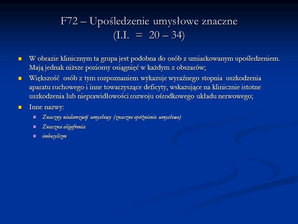 F72 – Upośledzenie umysłowe znaczne (I.I.