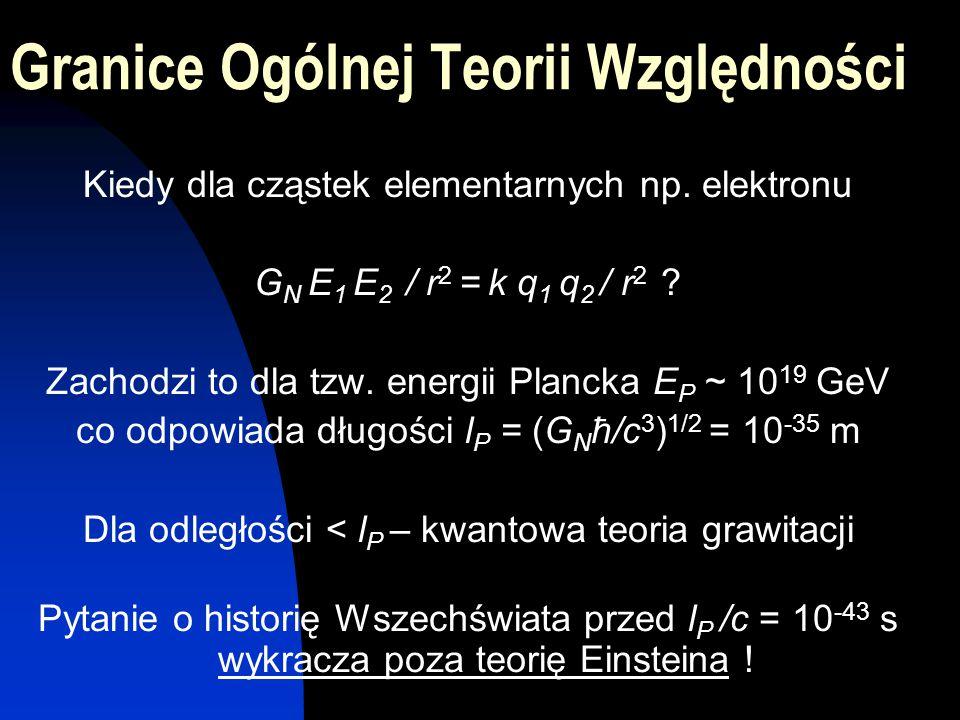 Granice Ogólnej Teorii Względności Kiedy dla cząstek elementarnych np. elektronu G N E 1 E 2 / r 2 = k q 1 q 2 / r 2 ? Zachodzi to dla tzw. energii Pl