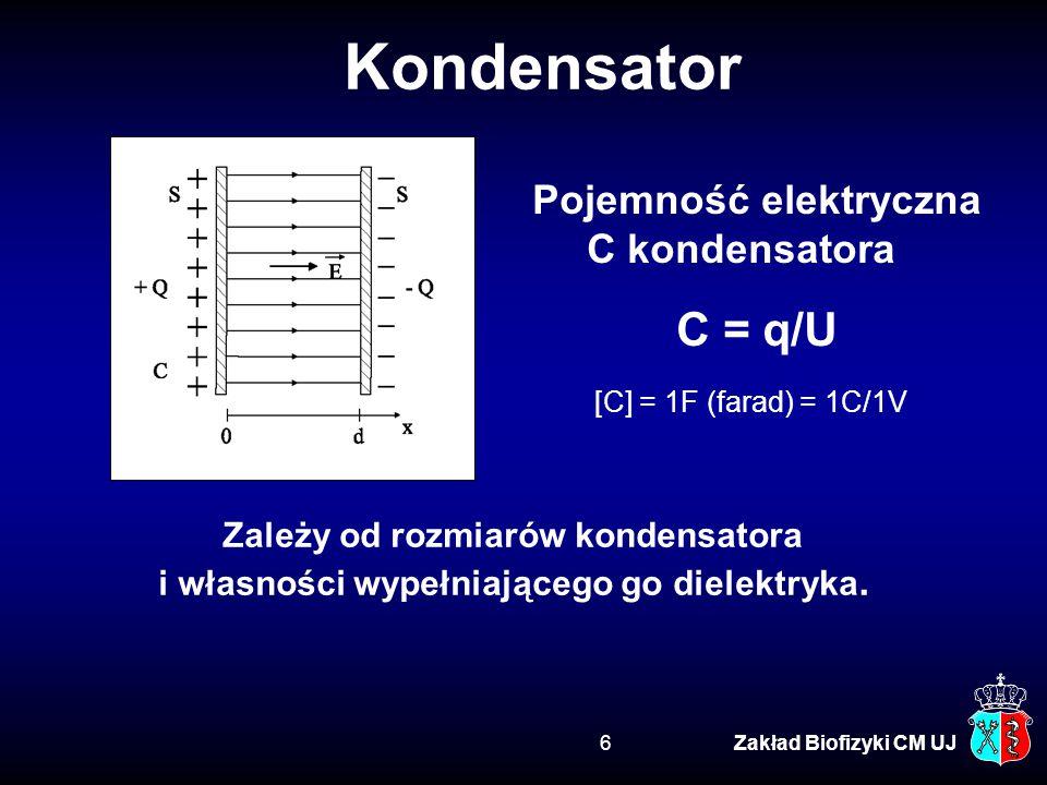 Pomiędzy palce wskazujące dwóch rąk przyłożono napięcie stałe U = 50 V, wywołując przepływ prądu o natężeniu I = 1 mA.