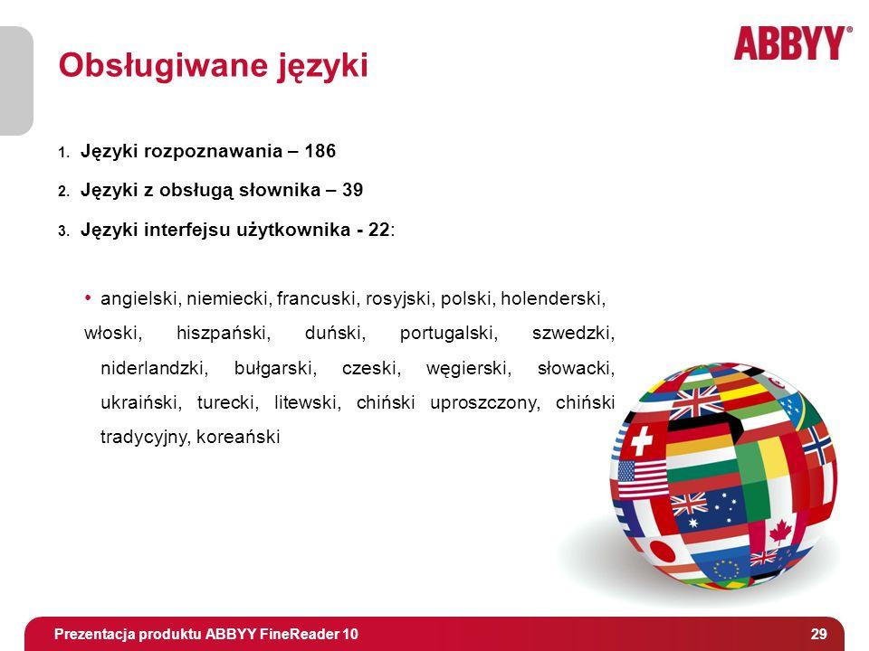 Tytuł i osoba prowadząca 29 Obsługiwane języki 1. Języki rozpoznawania – 186 2.