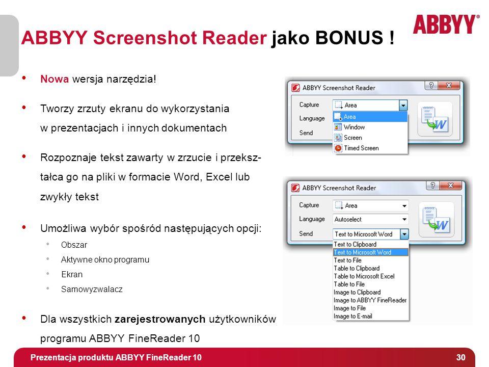 Tytuł i osoba prowadząca 30 ABBYY Screenshot Reader jako BONUS .