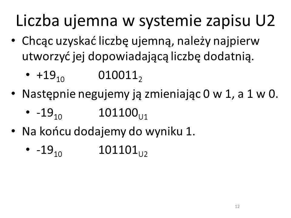 Liczba ujemna w systemie zapisu U2 12 Chcąc uzyskać liczbę ujemną, należy najpierw utworzyć jej dopowiadającą liczbę dodatnią. +19 10 010011 2 Następn
