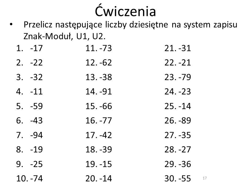 Ćwiczenia 17 Przelicz następujące liczby dziesiętne na system zapisu Znak-Moduł, U1, U2. 1.-17 2.-22 3.-32 4.-11 5.-59 6.-43 7.-94 8.-19 9.-25 10.-74
