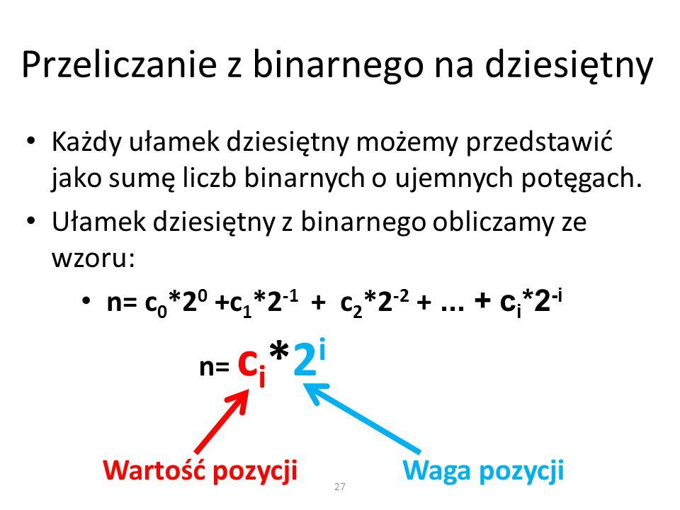 Przeliczanie z binarnego na dziesiętny Każdy ułamek dziesiętny możemy przedstawić jako sumę liczb binarnych o ujemnych potęgach. Ułamek dziesiętny z b