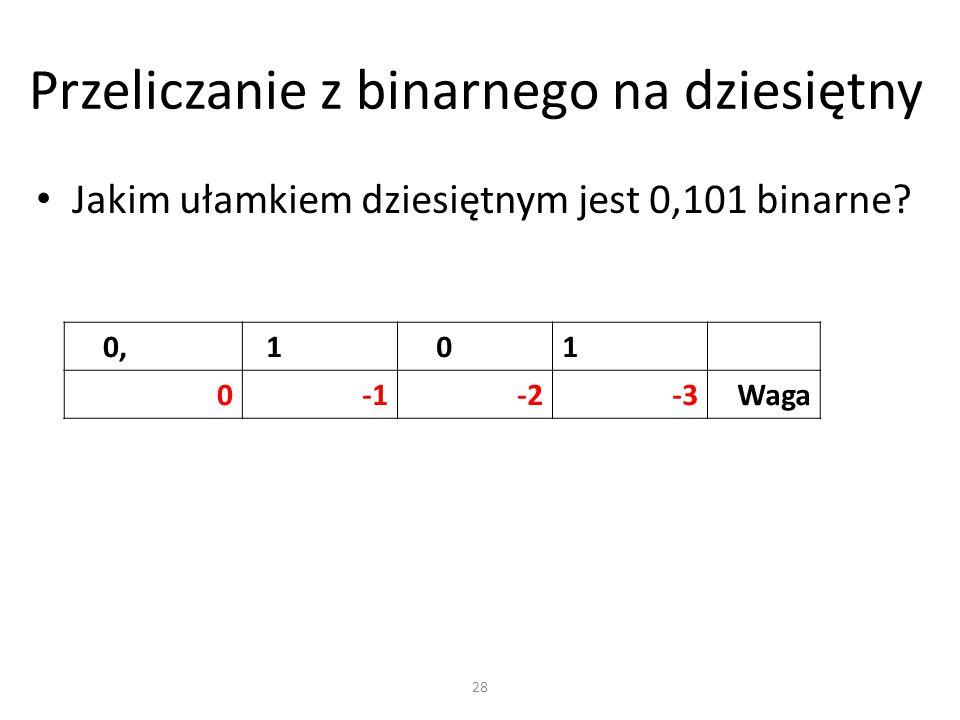 Przeliczanie z binarnego na dziesiętny Jakim ułamkiem dziesiętnym jest 0,101 binarne? 0, 1 01 0-2-3Waga 28