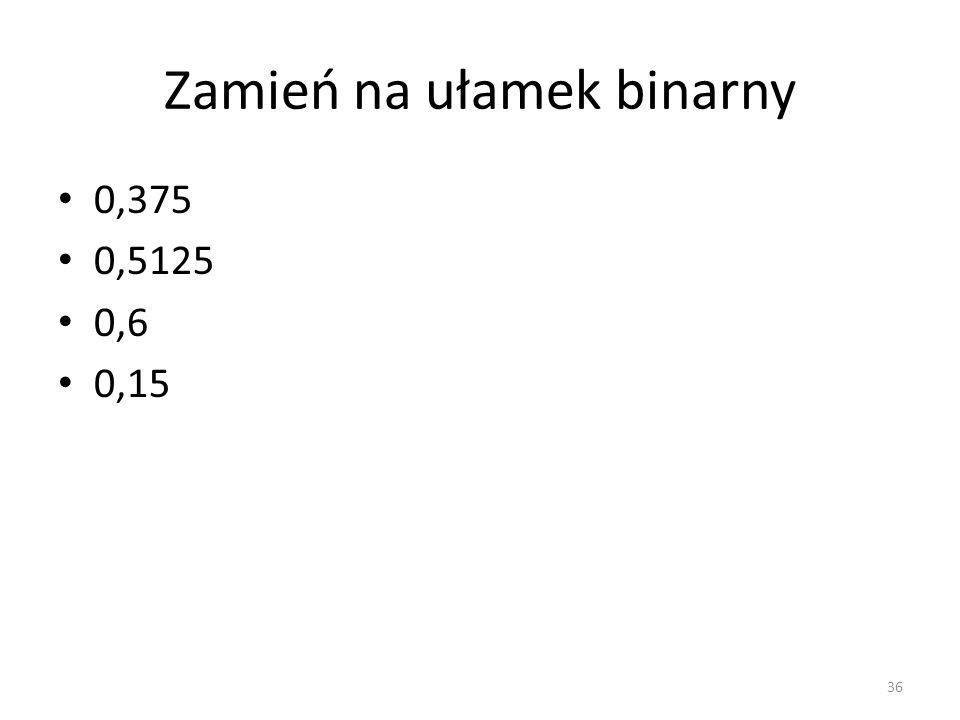 Zamień na ułamek binarny 0,375 0,5125 0,6 0,15 36