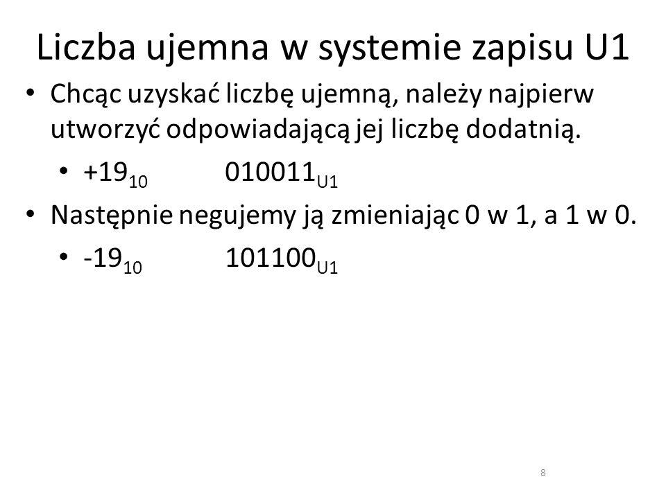 Liczba ujemna w systemie zapisu U1 8 Chcąc uzyskać liczbę ujemną, należy najpierw utworzyć odpowiadającą jej liczbę dodatnią. +19 10 010011 U1 Następn