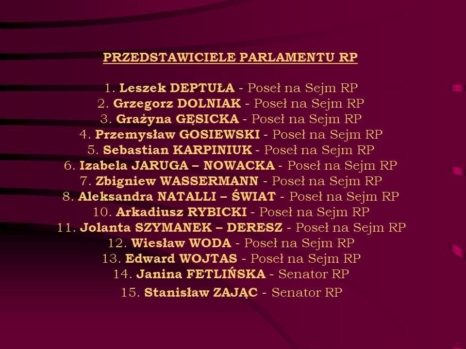 PRZEDSTAWICIELE PARLAMENTU RP 1. Leszek DEPTUŁA - Poseł na Sejm RP 2. Grzegorz DOLNIAK - Poseł na Sejm RP 3. Grażyna GĘSICKA - Poseł na Sejm RP 4. Prz