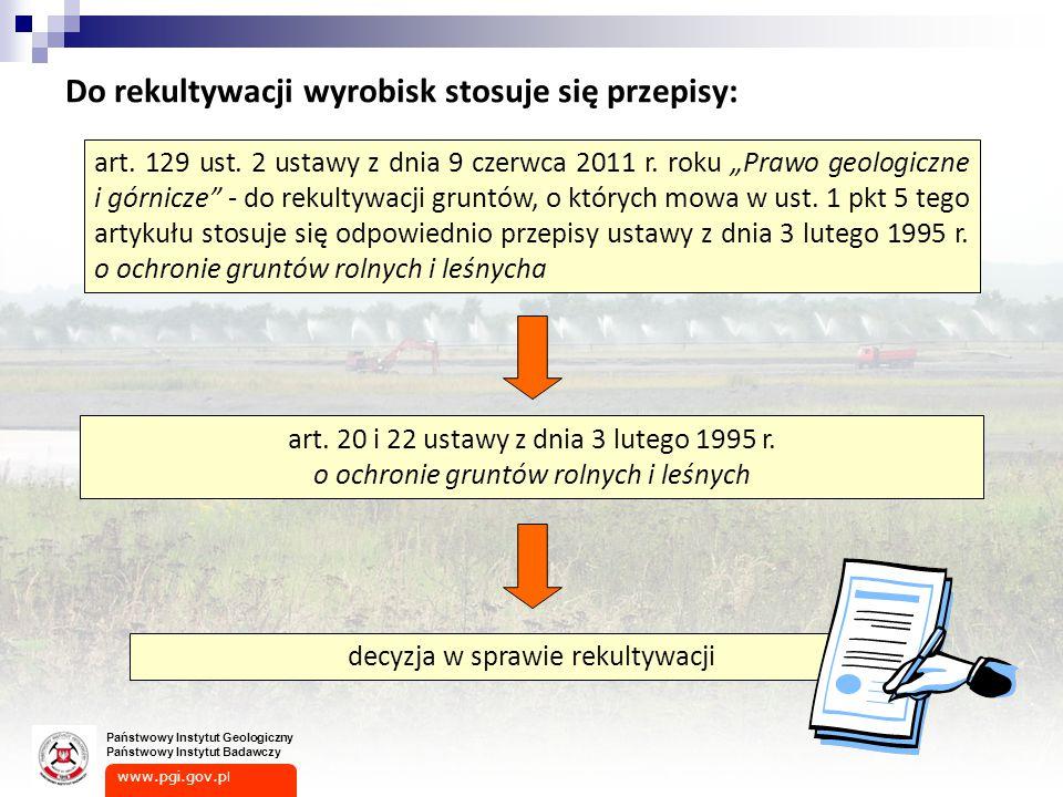 www.pgi.gov.p l Państwowy Instytut Geologiczny Państwowy Instytut Badawczy Do rekultywacji wyrobisk stosuje się przepisy: art.