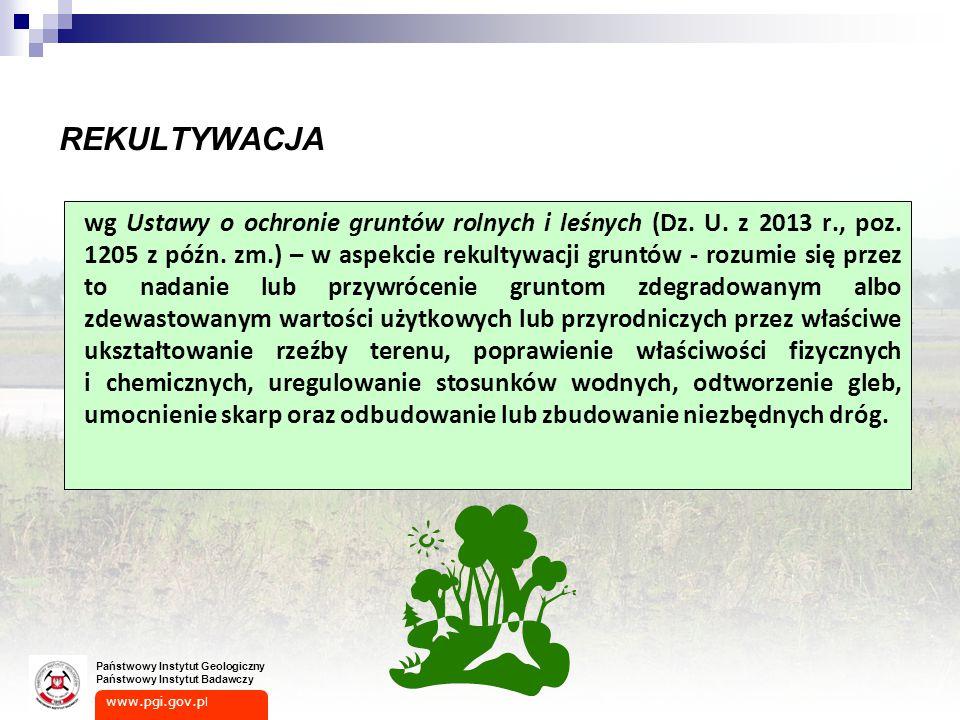 www.pgi.gov.p l Państwowy Instytut Geologiczny Państwowy Instytut Badawczy REKULTYWACJA wg Ustawy o ochronie gruntów rolnych i leśnych (Dz.