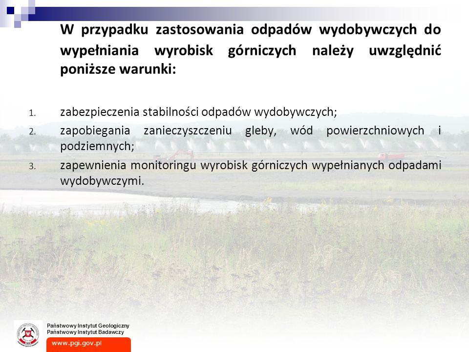 www.pgi.gov.p l Państwowy Instytut Geologiczny Państwowy Instytut Badawczy W przypadku zastosowania odpadów wydobywczych do wypełniania wyrobisk górniczych należy uwzględnić poniższe warunki: 1.