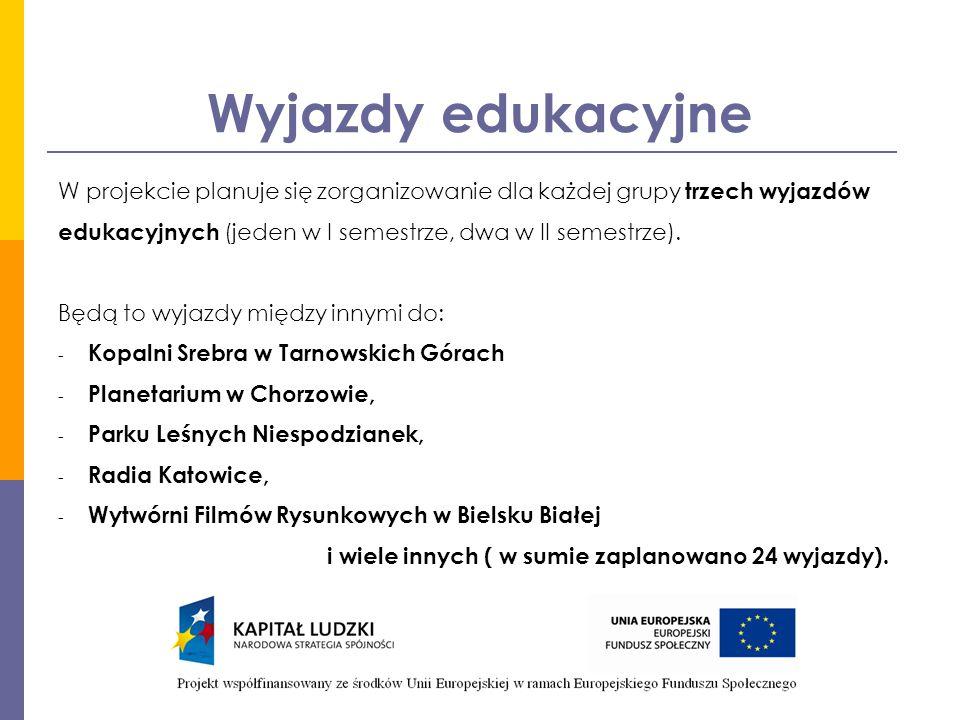 Wyjazdy edukacyjne W projekcie planuje się zorganizowanie dla każdej grupy trzech wyjazdów edukacyjnych (jeden w I semestrze, dwa w II semestrze).