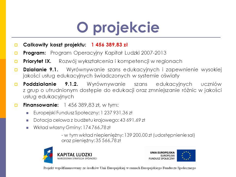 O projekcie  Całkowity koszt projektu: 1 456 389,83 zł  Program: Program Operacyjny Kapitał Ludzki 2007-2013  Priorytet IX.