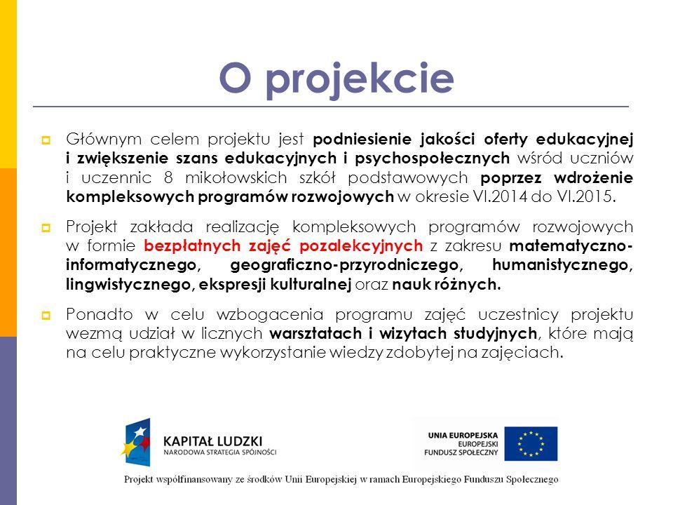 O projekcie Projekt będzie realizowany w następujących Szkołach:  Szkoła Podstawowa nr 3 ul.