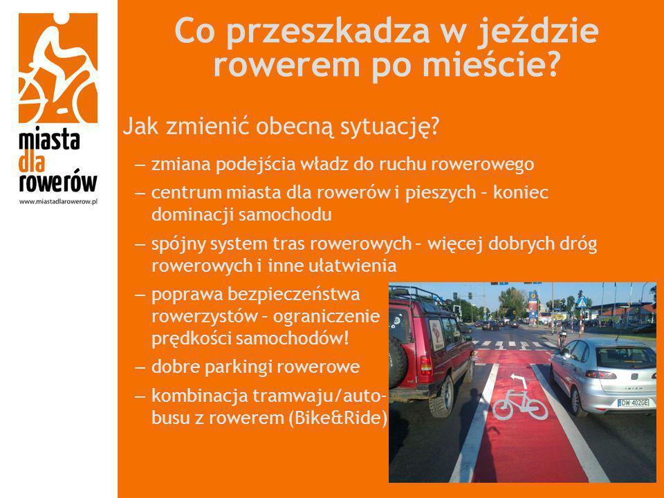 Co przeszkadza w jeździe rowerem po mieście? Jak zmienić obecną sytuację? – zmiana podejścia władz do ruchu rowerowego – centrum miasta dla rowerów i