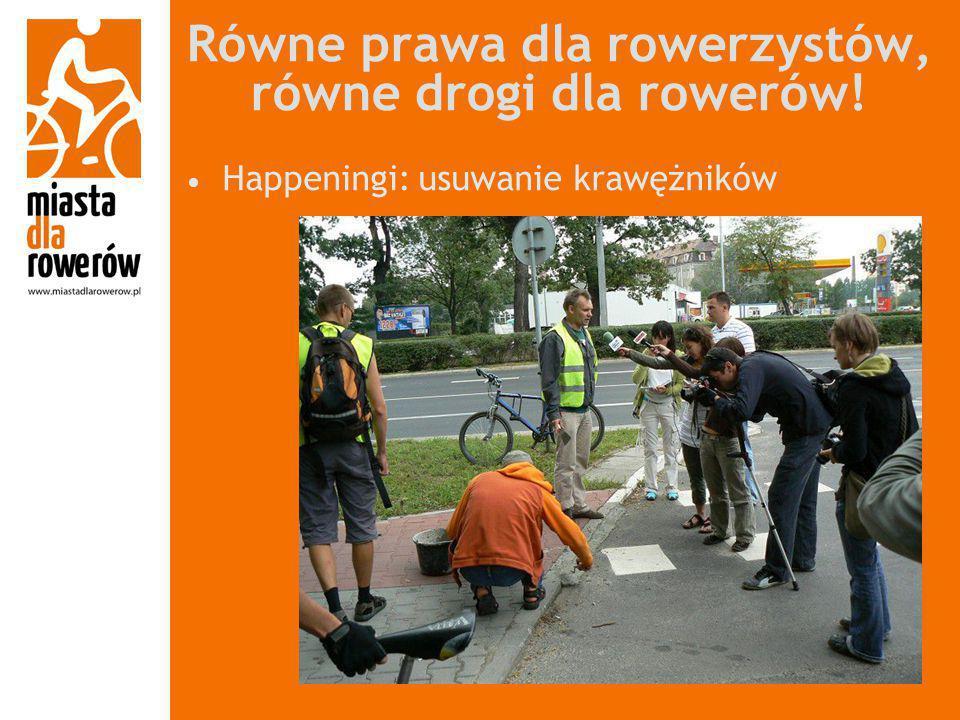 Równe prawa dla rowerzystów, równe drogi dla rowerów! Happeningi: usuwanie krawężników