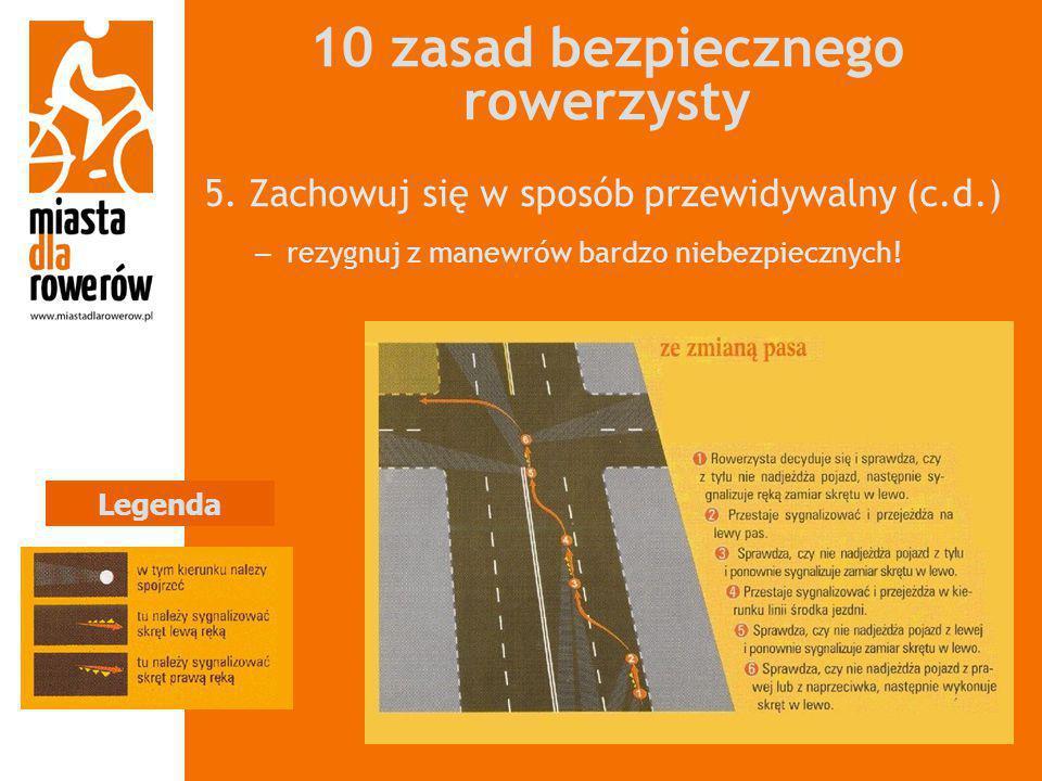 10 zasad bezpiecznego rowerzysty 5. Zachowuj się w sposób przewidywalny (c.d.) – rezygnuj z manewrów bardzo niebezpiecznych! Legenda