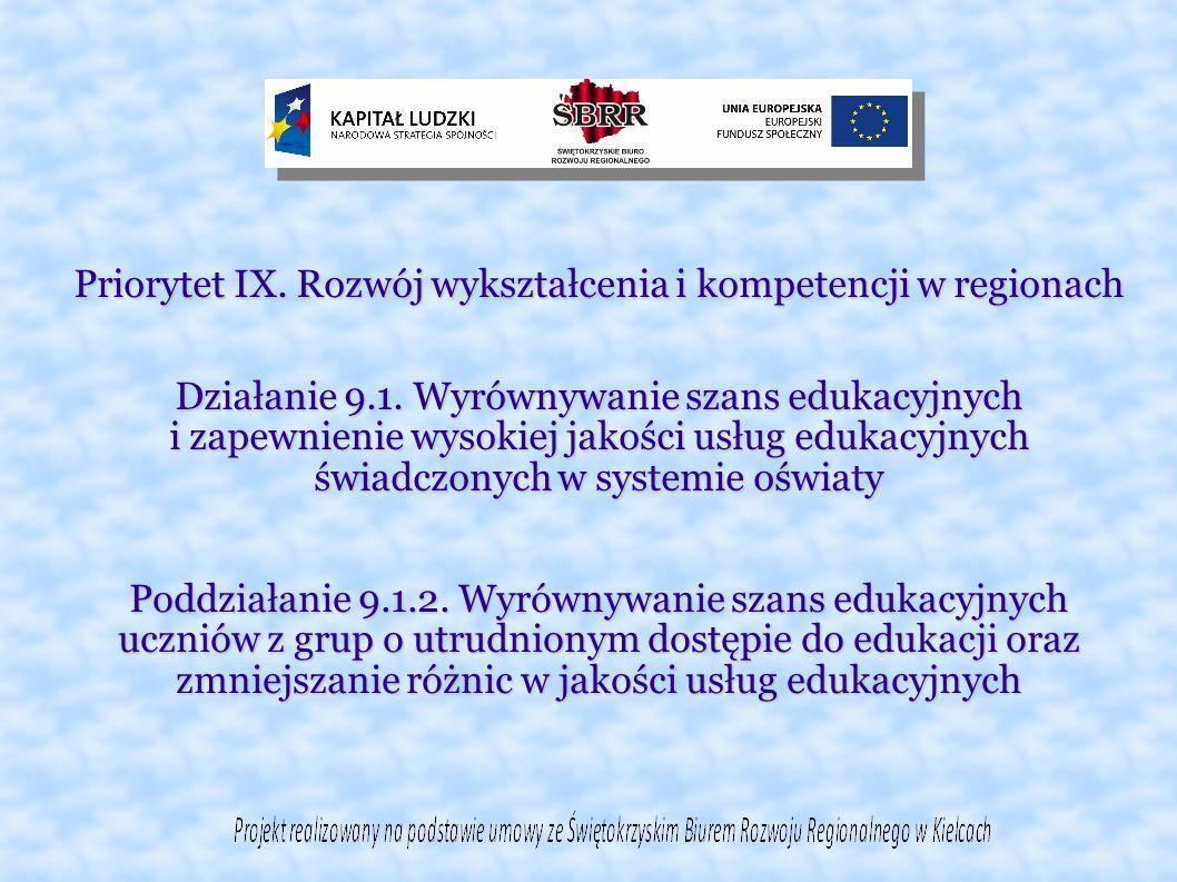 Priorytet IX. Rozwój wykształcenia i kompetencji w regionach Działanie 9.1.