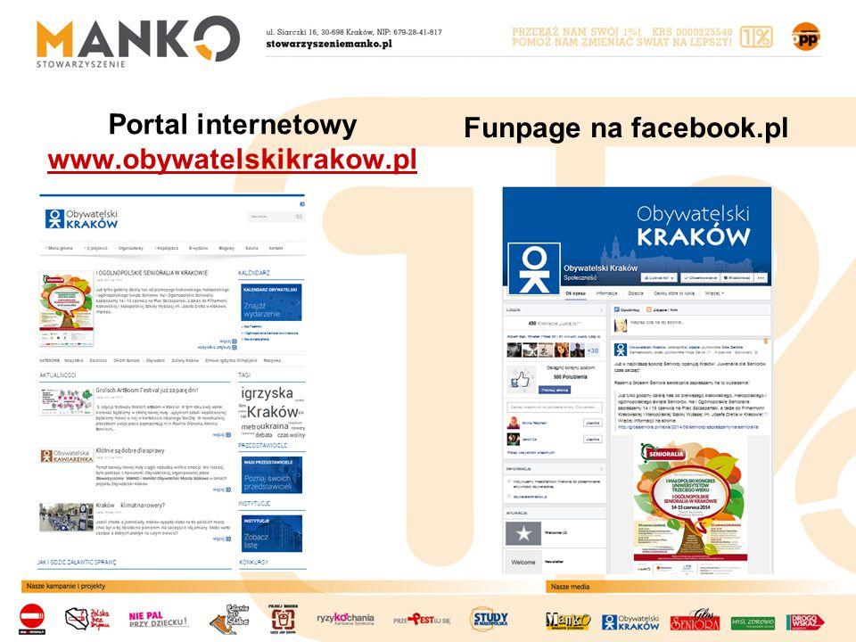 Portal internetowy www.obywatelskikrakow.pl www.obywatelskikrakow.pl Funpage na facebook.pl