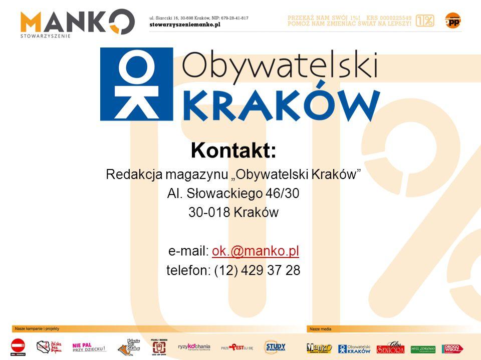 "Kontakt: Redakcja magazynu ""Obywatelski Kraków Al."