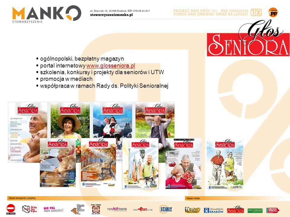  ogólnopolski, bezpłatny magazyn  portal internetowy www.glosseniora.plwww.glosseniora.pl  szkolenia, konkursy i projekty dla seniorów i UTW  promocja w mediach  współpraca w ramach Rady ds.