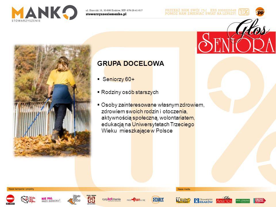GRUPA DOCELOWA  Seniorzy 60+  Rodziny osób starszych  Osoby zainteresowane własnym zdrowiem, zdrowiem swoich rodzin i otoczenia, aktywnością społeczną, wolontariatem, edukacją na Uniwersytetach Trzeciego Wieku mieszkające w Polsce