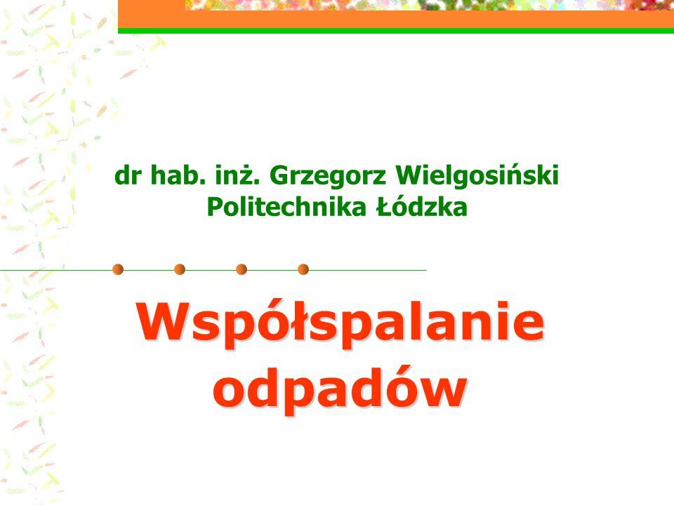 dr hab. inż. Grzegorz Wielgosiński Politechnika Łódzka Współspalanie odpadów