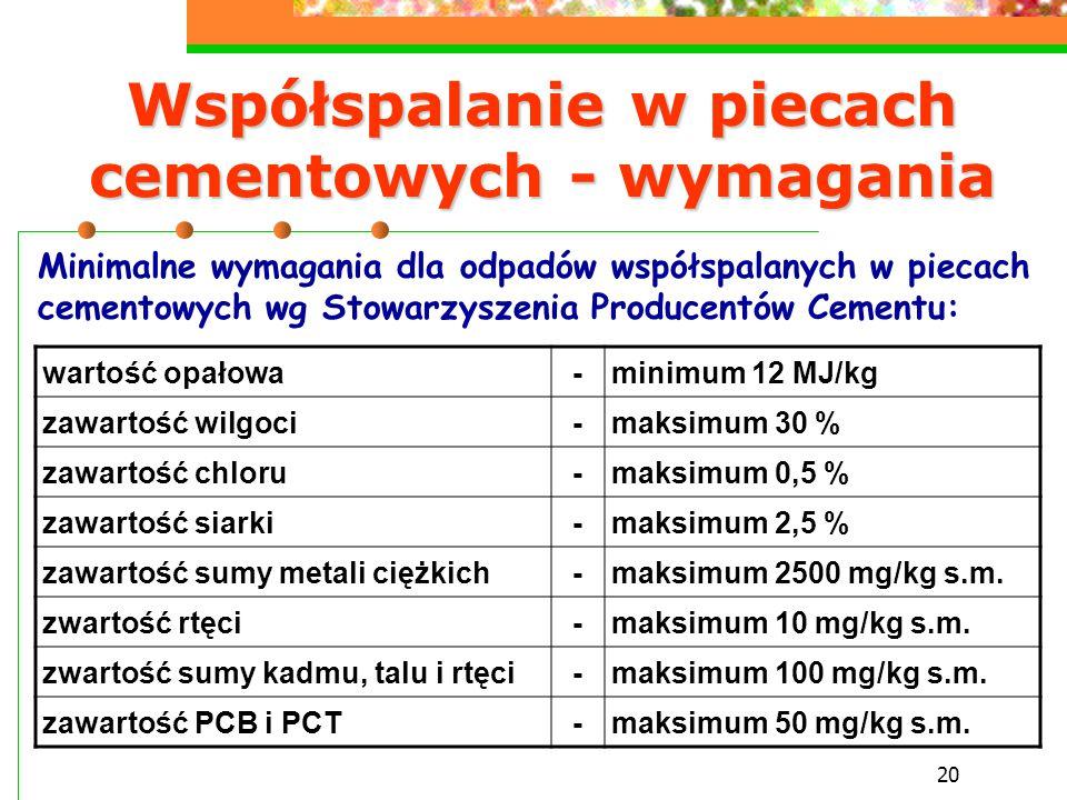 20 Współspalanie w piecach cementowych - wymagania wartość opałowa-minimum 12 MJ/kg zawartość wilgoci-maksimum 30 % zawartość chloru-maksimum 0,5 % za