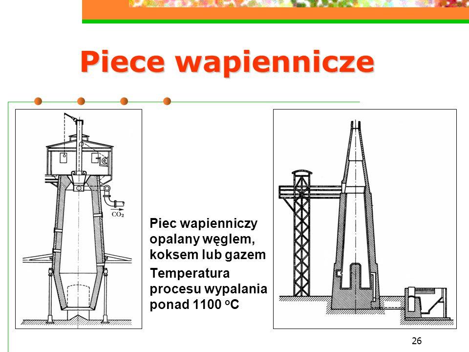 26 Piece wapiennicze Piec wapienniczy opalany węglem, koksem lub gazem Temperatura procesu wypalania ponad 1100 o C