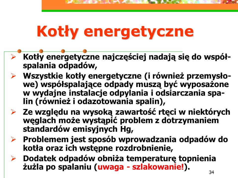 34 Kotły energetyczne  Kotły energetyczne najczęściej nadają się do współ- spalania odpadów,  Wszystkie kotły energetyczne (i również przemysło- we)