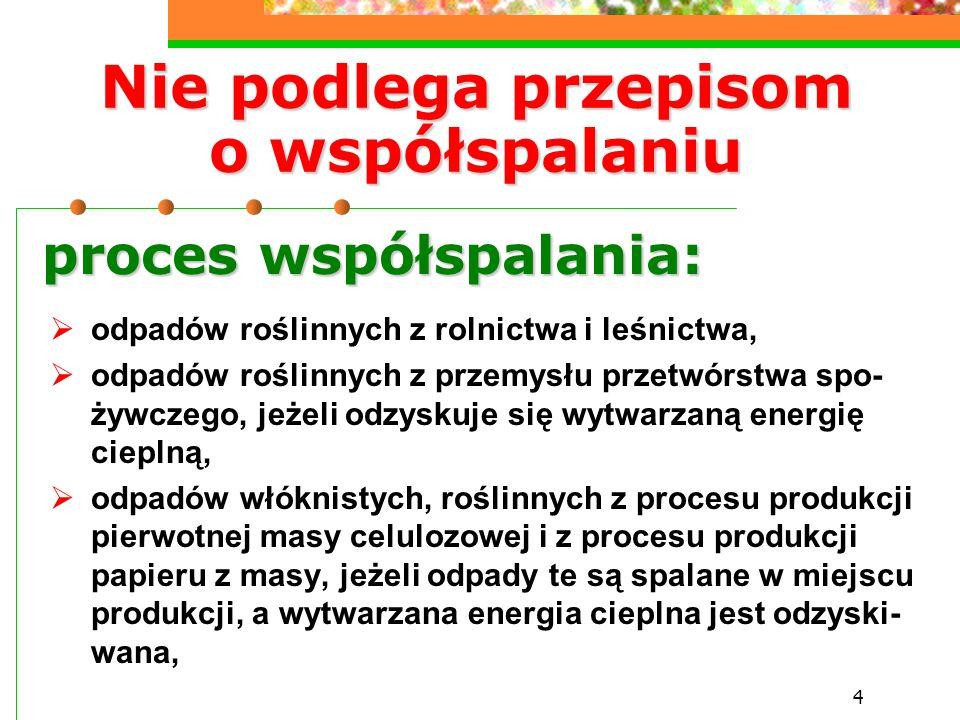 4 Nie podlega przepisom o współspalaniu  odpadów roślinnych z rolnictwa i leśnictwa,  odpadów roślinnych z przemysłu przetwórstwa spo- żywczego, jeż