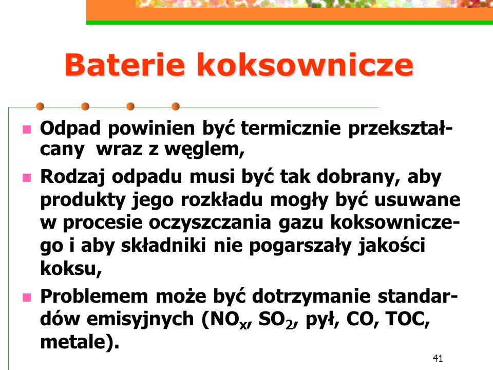 41 Baterie koksownicze Odpad powinien być termicznie przekształ- cany wraz z węglem, Rodzaj odpadu musi być tak dobrany, aby produkty jego rozkładu mo