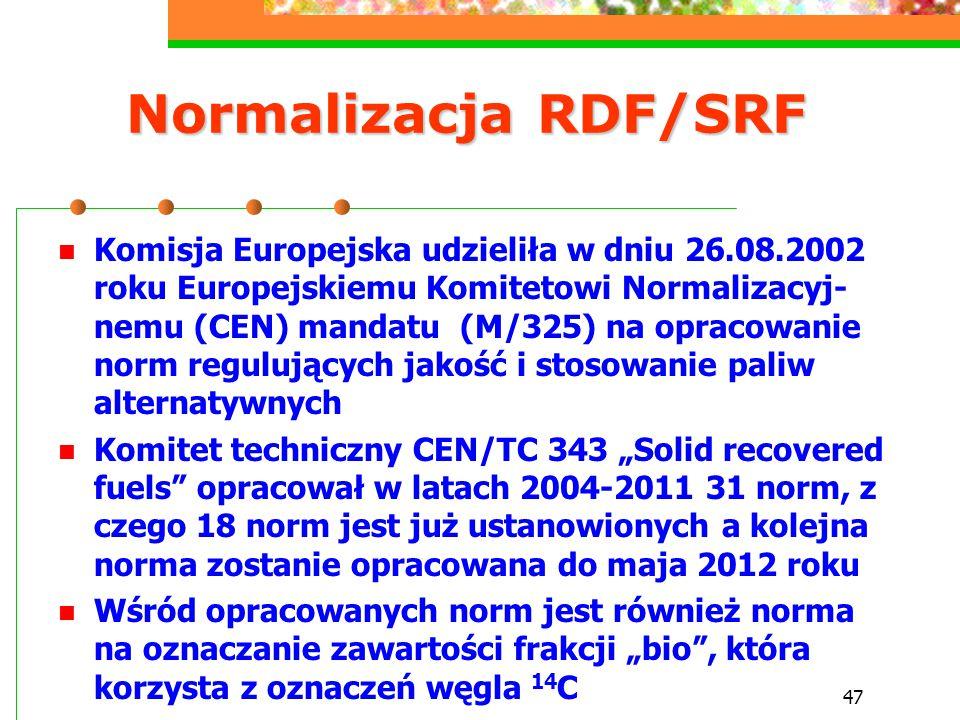 47 Normalizacja RDF/SRF Komisja Europejska udzieliła w dniu 26.08.2002 roku Europejskiemu Komitetowi Normalizacyj- nemu (CEN) mandatu (M/325) na oprac