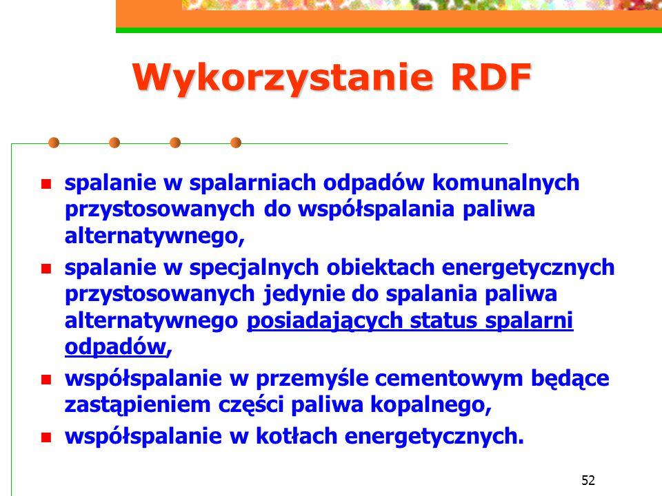 52 Wykorzystanie RDF spalanie w spalarniach odpadów komunalnych przystosowanych do współspalania paliwa alternatywnego, spalanie w specjalnych obiekta