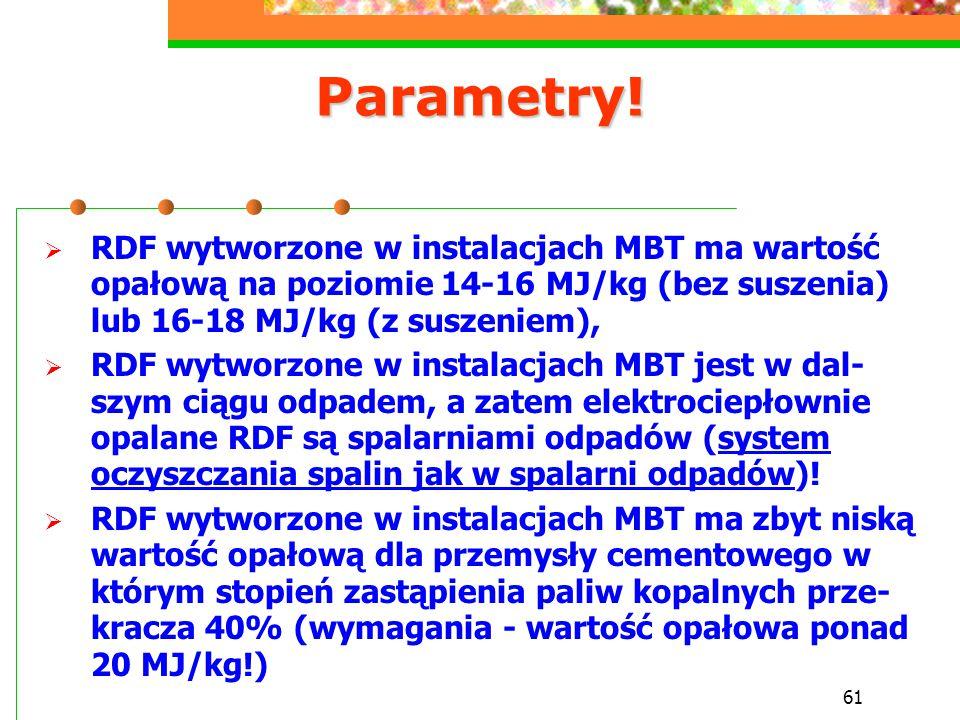 61 Parametry!  RDF wytworzone w instalacjach MBT ma wartość opałową na poziomie 14-16 MJ/kg (bez suszenia) lub 16-18 MJ/kg (z suszeniem),  RDF wytwo