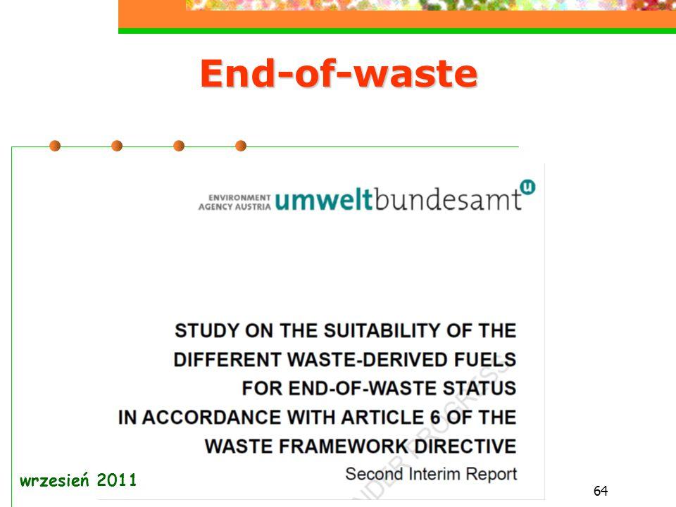 64 End-of-waste wrzesień 2011