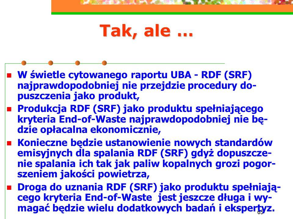 65 Tak, ale … W świetle cytowanego raportu UBA - RDF (SRF) najprawdopodobniej nie przejdzie procedury do- puszczenia jako produkt, Produkcja RDF (SRF)