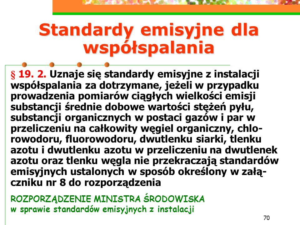 70 Standardy emisyjne dla współspalania § 19. 2. Uznaje się standardy emisyjne z instalacji współspalania za dotrzymane, jeżeli w przypadku prowadzeni