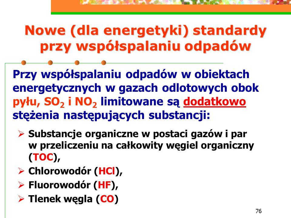 76 Nowe (dla energetyki) standardy przy współspalaniu odpadów  Substancje organiczne w postaci gazów i par w przeliczeniu na całkowity węgiel organic