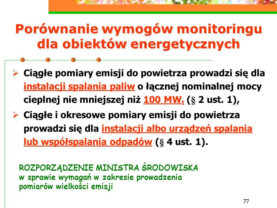 77 Porównanie wymogów monitoringu dla obiektów energetycznych  Ciągłe pomiary emisji do powietrza prowadzi się dla instalacji spalania paliw o łączne