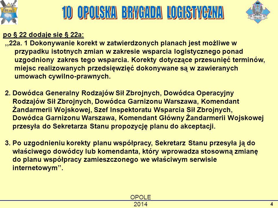 OPOLE 2014 4 po § 22 dodaje się § 22a:,,22a. 1 Dokonywanie korekt w zatwierdzonych planach jest możliwe w przypadku istotnych zmian w zakresie wsparci