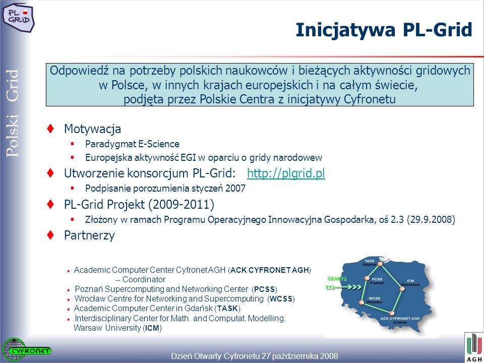 Dzień Otwarty Cyfronetu 27 października 2008 24 Polski Grid Inicjatywa PL-Grid Odpowiedź na potrzeby polskich naukowców i bieżących aktywności gridowych w Polsce, w innych krajach europejskich i na całym świecie, podjęta przez Polskie Centra z inicjatywy Cyfronetu  Motywacja  Paradygmat E-Science  Europejska aktywność EGI w oparciu o gridy narodowew  Utworzenie konsorcjum PL-Grid: http://plgrid.plhttp://plgrid.pl  Podpisanie porozumienia styczeń 2007  PL-Grid Projekt (2009-2011)  Złożony w ramach Programu Operacyjnego Innowacyjna Gospodarka, oś 2.3 (29.9.2008)  Partnerzy GEANT2 ♦ Academic Computer Center Cyfronet AGH (ACK CYFRONET AGH) -- Coordinator ♦ Poznań Supercomputing and Networking Center (PCSS) ♦ Wrocław Centre for Networking and Supercomputing (WCSS) ♦ Academic Computer Center in Gdańsk (TASK) ♦ Interdisciplinary Center for Math.