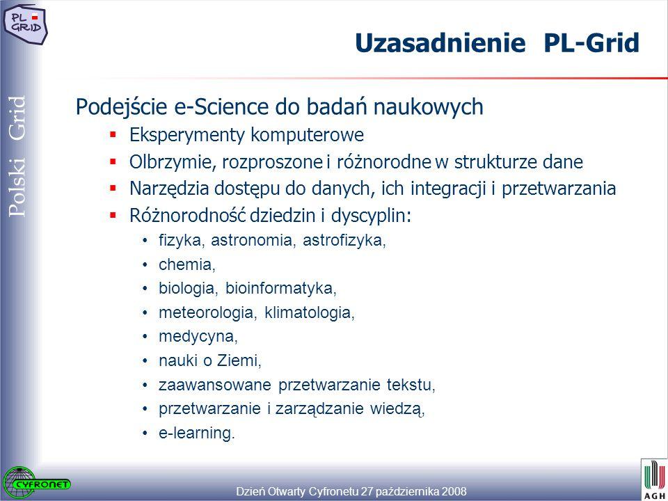 Dzień Otwarty Cyfronetu 27 października 2008 26 Polski Grid Uzasadnienie PL-Grid Podejście e-Science do badań naukowych  Eksperymenty komputerowe  Olbrzymie, rozproszone i różnorodne w strukturze dane  Narzędzia dostępu do danych, ich integracji i przetwarzania  Różnorodność dziedzin i dyscyplin: fizyka, astronomia, astrofizyka, chemia, biologia, bioinformatyka, meteorologia, klimatologia, medycyna, nauki o Ziemi, zaawansowane przetwarzanie tekstu, przetwarzanie i zarządzanie wiedzą, e-learning.