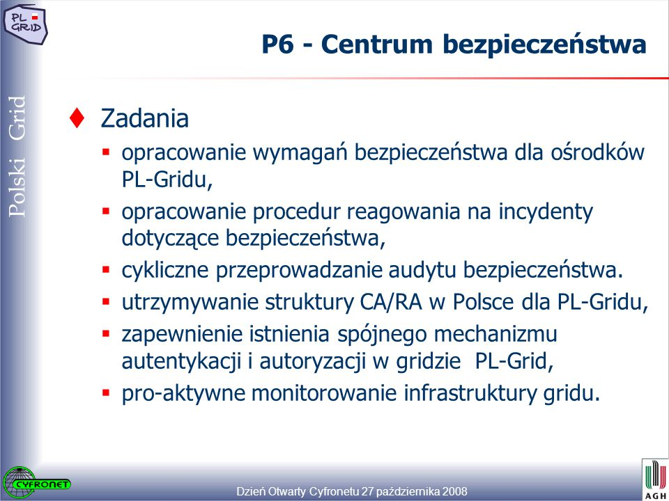 Dzień Otwarty Cyfronetu 27 października 2008 39 Polski Grid P6 - Centrum bezpieczeństwa  Zadania  opracowanie wymagań bezpieczeństwa dla ośrodków PL-Gridu,  opracowanie procedur reagowania na incydenty dotyczące bezpieczeństwa,  cykliczne przeprowadzanie audytu bezpieczeństwa.