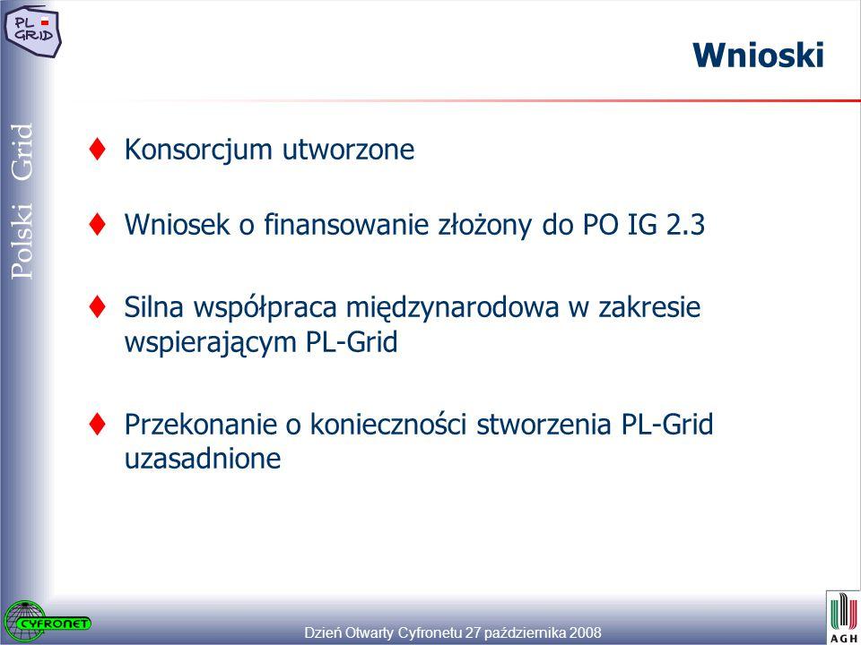 Dzień Otwarty Cyfronetu 27 października 2008 49 Polski Grid Wnioski  Konsorcjum utworzone  Wniosek o finansowanie złożony do PO IG 2.3  Silna współpraca międzynarodowa w zakresie wspierającym PL-Grid  Przekonanie o konieczności stworzenia PL-Grid uzasadnione